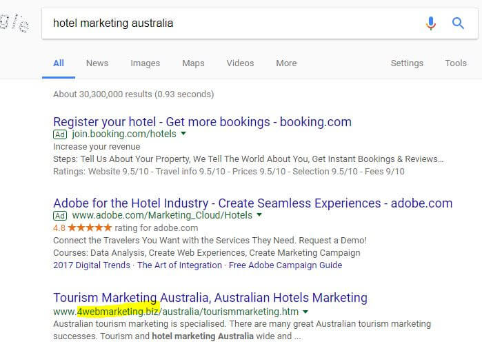 SEO for Perth hotels